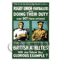 Rugby Union Footballers - Miniature WWI Poster