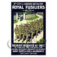 Dolls House Miniature - Royal Fusiliers Recruitment - Miniature WWI Poster