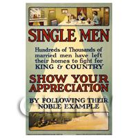 Single Men - King And Country - Miniature WWI Poster