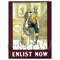 Enlist Now Recruitment - Miniature WWI Poster