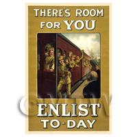 Room For You Enlist Today - Miniature WWI Poster