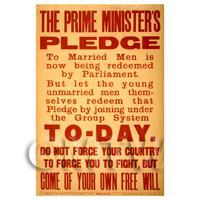 Prime Ministers Pledge - Miniature WWI Poster