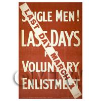 Last Days To Enlist - Miniature WWI Poster