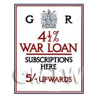 4 1/2 Percent Interest War Loan - Miniature Dollshouse WWI Poster
