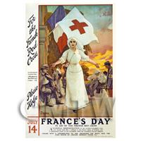 Frances Day - Red Cross - Miniature WWI Poster