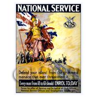 National Service - Miniature WWI Poster