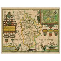 Dolls House Miniature John Speed Aged Bedfordshire Map