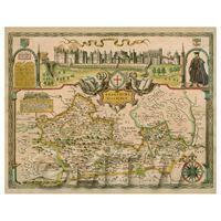 Dolls House Miniature John Speed Aged Barkshire Map