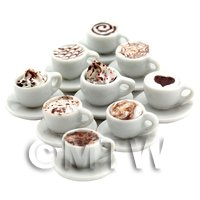 Dolls House Miniature Set Of 9 Handmade Premium Mixed Coffees