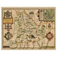 Dolls House Miniature John Speed Aged Breknoke Map