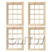 4 x Dolls House Miniature 12 Pane Georgian Windows And Glazing