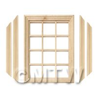 Dolls House Miniature 12 Pane Georgian Window, Frame And Glazing