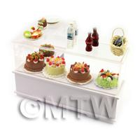Dolls House Miniature L Shaped 2 Tier Filled right Hand Dessert Counter
