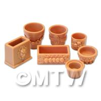 Set of 7 Dolls House Miniature Terracotta Style Resin Flower Pots