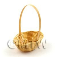 Dolls House Miniature Handmade Oval Wicker Basket With Handle
