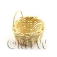 Miniature Handmade Small Round Wicker Basket With Handles