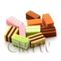 10 Dolls House Miniature Mixed Coloured Wafers