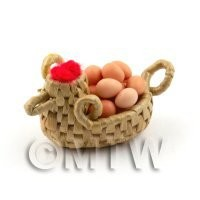 Dolls House Miniature Handmade Wicker Basket Chicken with Eggs