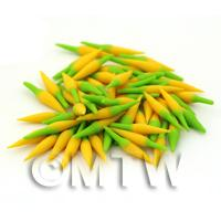 10 Handmade Dolls House Miniature Yellow Chillies