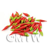 1/12th scale - 10 Handmade Dolls House Miniature Red Chillies