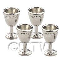 Dolls House Miniature Set of 4 Silver Metal Tudor Goblets