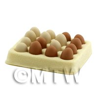 Dolls House Miniature 16 Loose Mixed Color Goose Eggs and Egg Tray
