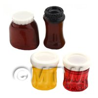 Dolls House Miniature Set Of 4 Resin Food Jars And Labels
