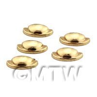 Dolls House Miniature Set of 5 Gold Effect Metal Handles