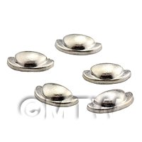 Dolls House Miniature Set of 5 Silver Effect Metal Handles