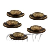Dolls House Miniature Set of 5 Brass Effect Metal Handles