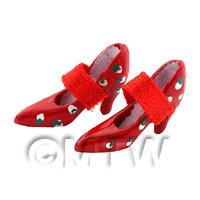 Dolls House Miniature Red Polker Dot Shoes With Strap