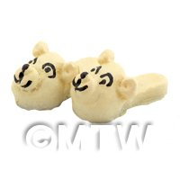 Dolls House Miniature Beige Childrens Dog Head Slippers