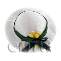 Dolls House Miniature White And Green Ladies Hat