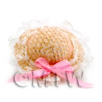 Dolls House Miniature Straw And White Lace Ladies Hat