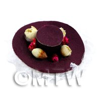 Dolls House Miniature Brown Hat With Flowers And Lace