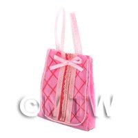 Dolls House Miniature Pink Fabric Shopping Bag