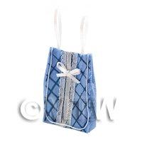 Dolls House Miniature Blue Fabric Shopping Bag