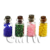 Dolls House Miniature 4 Bead Filled Filled Glass Jars