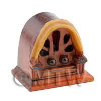 Dolls House Miniature Old Style Classic Shaped Wood Radio