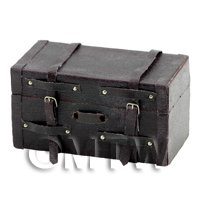 Dolls House Miniature Brown Trunk With Straps And Buckles