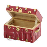 Dolls House Miniature Red Trunk With Straps And Brass Detailing