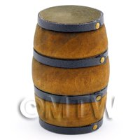 Dolls House Miniature Old Style Brown Strapped Barrel
