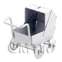 Dolls House Miniature Old Fashioned White Metal Pram