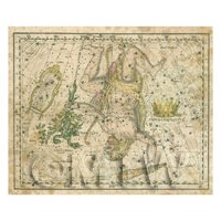 Dolls House Miniature Aged 1800s Star Map With Hercules And Lyra