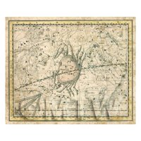 Dolls House Miniature Aged 1800s Star Map With Cancer, Leo And Gemini