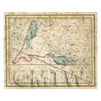 Dolls House Miniature Aged 1800s Star Map With Pisces