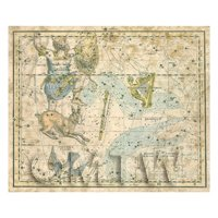 Dolls House Miniature Aged 1800s Star Map With Orion, Lepus And Septrum