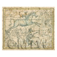 Dolls House Miniature Aged 1800s Star Map With Canis Minor And Monoceros