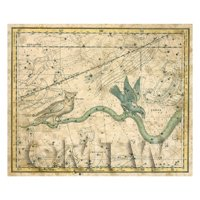 Dolls House Miniature Aged 1800s Star Map With Noctua, Corvus And Hydra