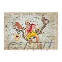 Dolls House Miniature Aged 1820s Star Map Depicting Serpentarius